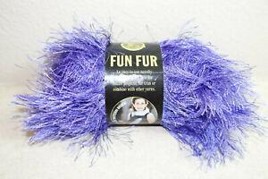 Lion Brand Fun Fur eyelash yarn lot of 2 Violet 64 yds each