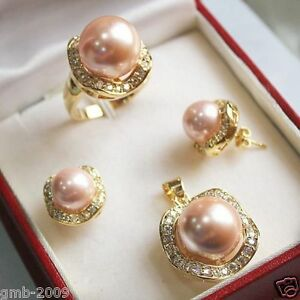 Real-Pink-South-Sea-Shell-Pearl-Beads-Earrings-Ring-Necklace-Pendant-Set