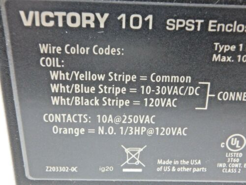 Victory 101 SPST Enclosed Relay w// HOA Switch COIL 120 VAC//10-30VDC 10 amps AC