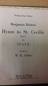 Cecilia/'s Day Parry Vocal Music Score Ode On St