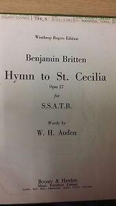 Bien Britten: Hymne à St. Cecilia: Musique Vocale Score-afficher Le Titre D'origine Circulation Sanguine Tonifiante Et Douleurs D'ArrêT