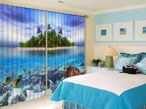 3D Sea Turtle Island 502 Blockout Photo Curtain Printing Drapes Fabric Window CA