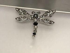 Swarovski-Figur-Brosche-Libelle-7-3-cm-Top-Zustand