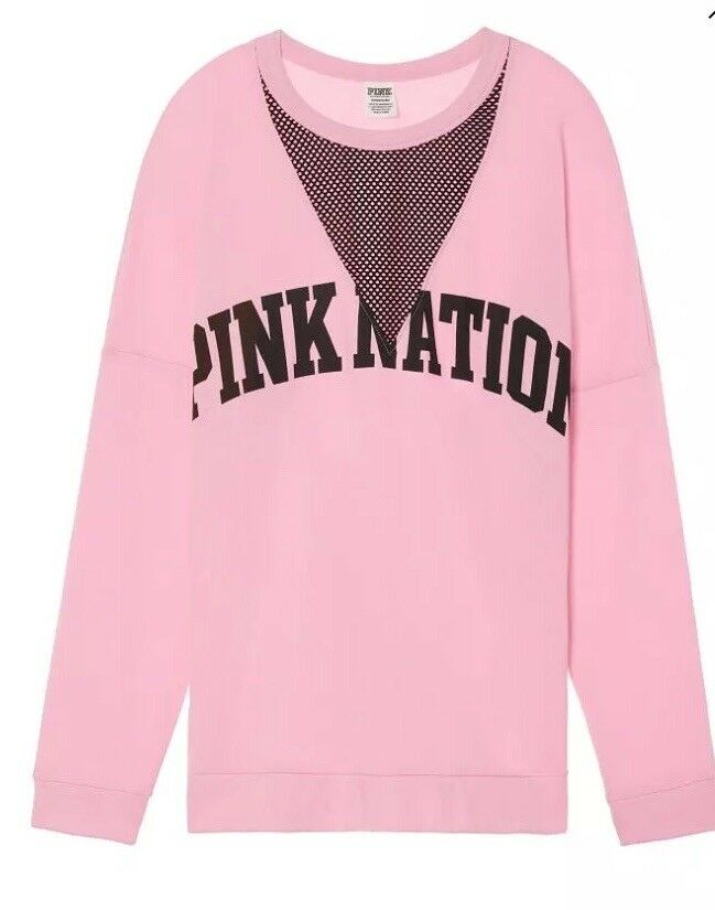 NEW Victoria's Secret PINK NATION Mesh Cutout Varsity Crew Top Sweatshirt M