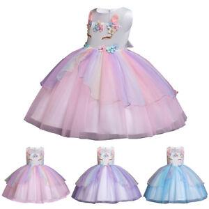 Kids Baby Girls Unicorn Costume Birthday Carnival Halloween Princess Party Dress