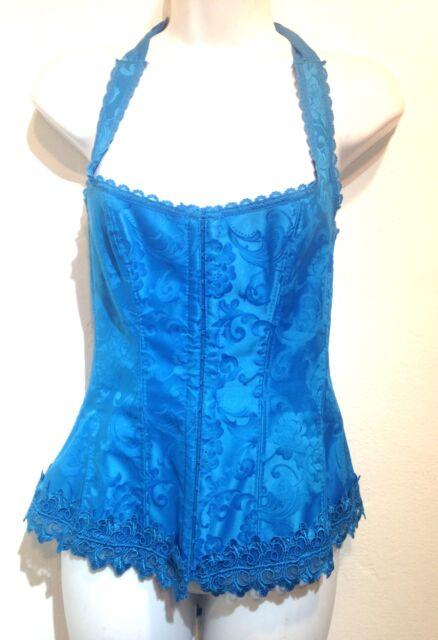 Fredrick's of Hollywood Blue halter corset 36