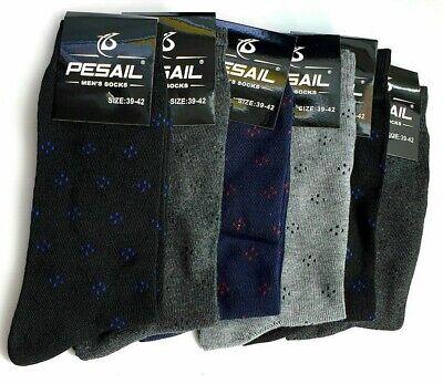 6 Pairs of Men/'s Cotton Rich Plain  Socks Black Size 6-8 39-42