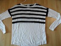 ESPRIT schöner gestreifter oversized Pullover weiß schwarz Gr. S w. NEU 516