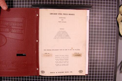 Chicago Dreis Krump 410-D Press Brake Installation and Parts Manual Year 1952