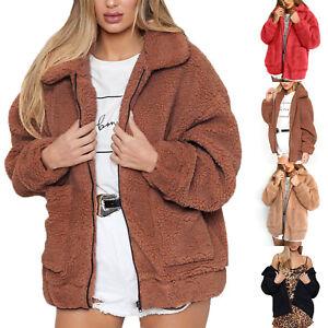 women teddy bear fleece coat ladies bomber jacket wool. Black Bedroom Furniture Sets. Home Design Ideas