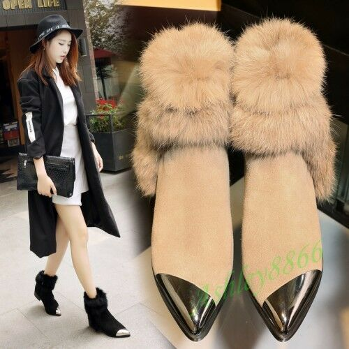Warm Fur Trim Pointy Toe Women Frosting Flat Side Zip Ankle Boots Leather Shoes