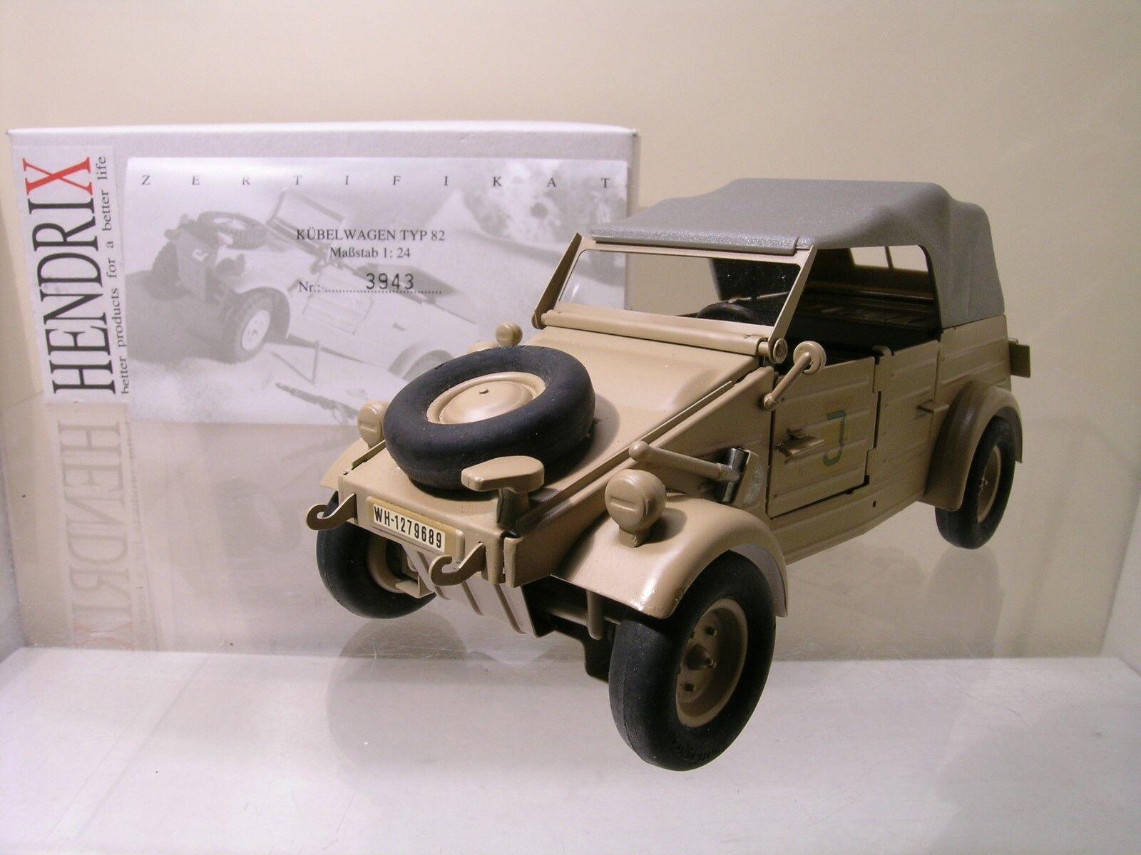 HENDRIX VW VOLKSWAGEN TYPE 82 KÜBELWAGEN+TOP 1940 SAHARA CERT.3943 BOXED 1:24