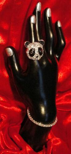 Panda-mania ring size 7 panda pandas bear pave crystal rhinestone enamel