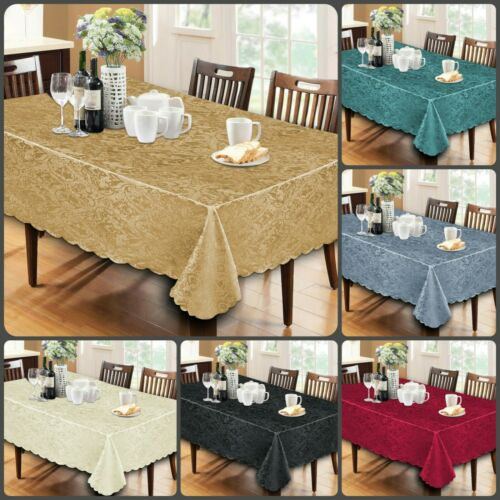 Round New Soft Damask Jacquard Tablecloth Dining Table Cover Napkin Rectangle