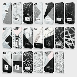 finest selection b8ba3 468cd Details about Personalised Samsung Case Hard Cover Marble Silver Glitter  Initials Custom
