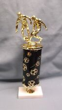 SOCCER  trophy action male award black oval theme column wide marble base