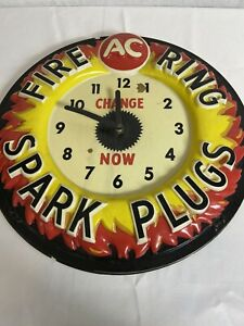 Vintage-1960-039-s-AC-Fire-Ring-Spark-Plugs-17-034-Embossed-Clock-Sign-Read-Descrip