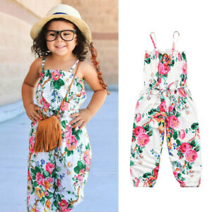 c8c71617056e Image is loading Infant-Baby-Floral-Print-Sleeveless-Strap-Rompers-Girls-