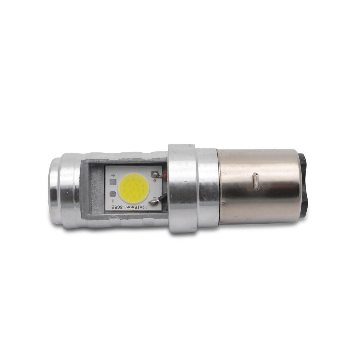 Kit 2x ampoule 6W BA20D H6 Blanc LED Moto/ Mobylette/ATV Hi-Lo Beam phare Lampe