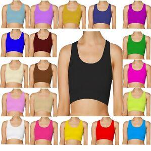 KRBS-Kids-Girls-Shiny-Lycra-Nylon-Dance-Gymastics-Sports-RB-Racer-Back-Crop-Top