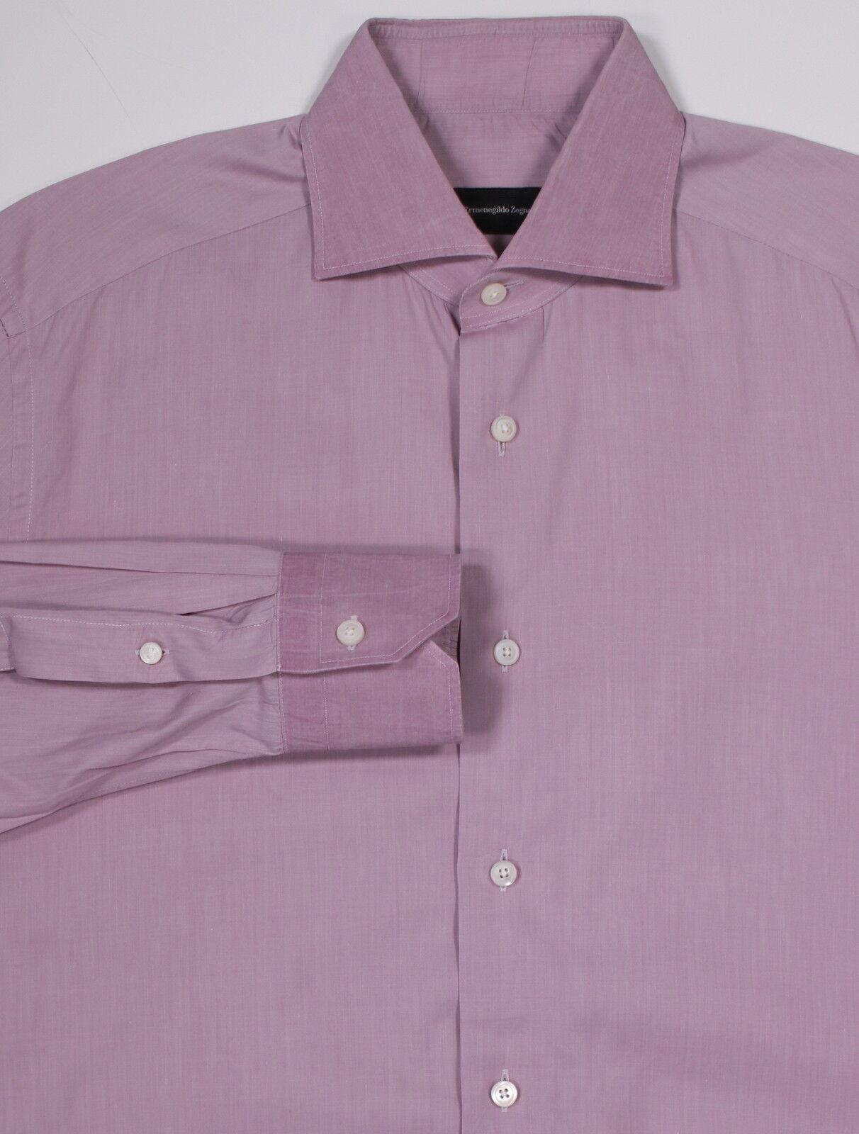 ERMENEGILDO ZEGNA Very Recent Light Purple Tailored Fit Dress Shirt (41) 16