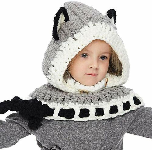 Boys N Girls Cute Fox Shape Hat /& Scarf Wooly Earflap Hood Scarf Warm Winter
