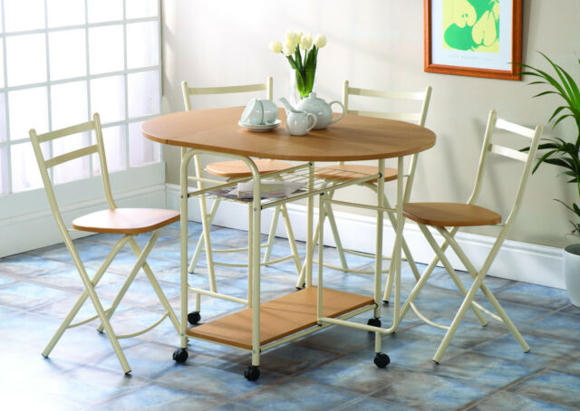 Folding Dining Table And Chairs Set With Castors Extending Drop Leaf