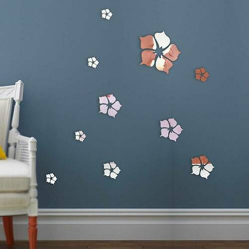 3D Flower Mirror Wall Stickers Decal DIY Art Mural Removable Home Room Decor LD
