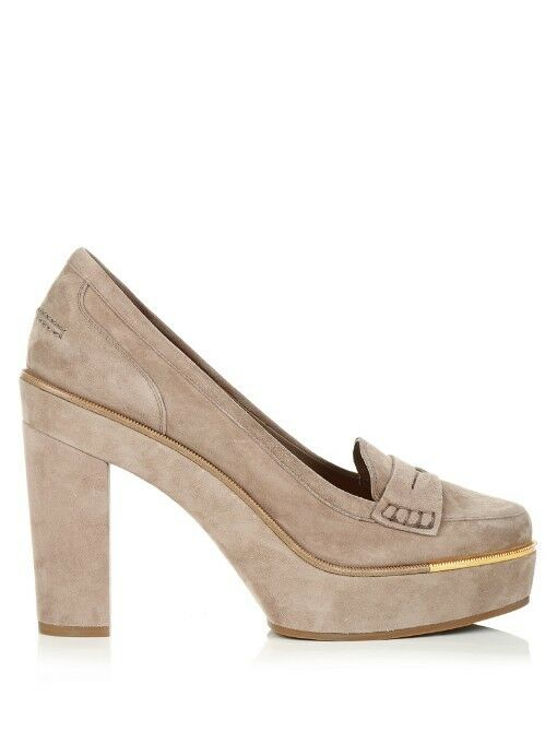 NIB Salvatore Ferragamo Goccia Suede Platform Pumps Dark-Beige shoes 8.5 B