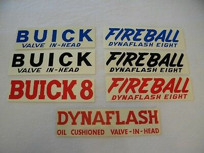 1939 1940 BUICK DYNAFLASH 8 VALVE COVER DECAL RED
