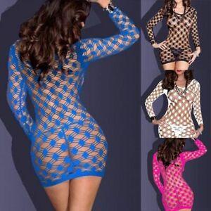 Underwear-Nightwear-Women-Mini-Dress-Sexy-Babydoll-Lingerie-Fishnet-Sleepwear