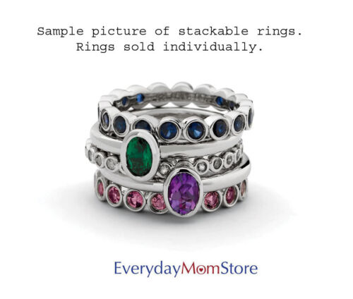 Sterling Silver Stackable Ring Created Emerald stones May Birthstone Ring QSK661