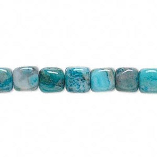 9861 Crazy Lace Agate Cube Beads Blue 7mm 16inch  *UK  SHOP*