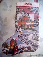 Candamar Needlepoint Stocking Holiday Craft Kit,country Christmas Scene,30565,17