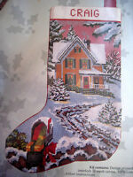 Candamar Needlepoint Stocking Holiday Craft Kit,country Christmas Scene,30565,17