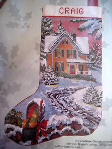 Image Is Loading Candamar Needlepoint Stocking Holiday Craft Kit COUNTRY CHRISTMAS