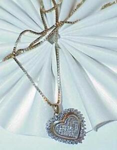 14k-30Ct-Princess-Cut-Diamond-Heart-Pendant-Necklace-Invisible-Set-Yellow-Gold