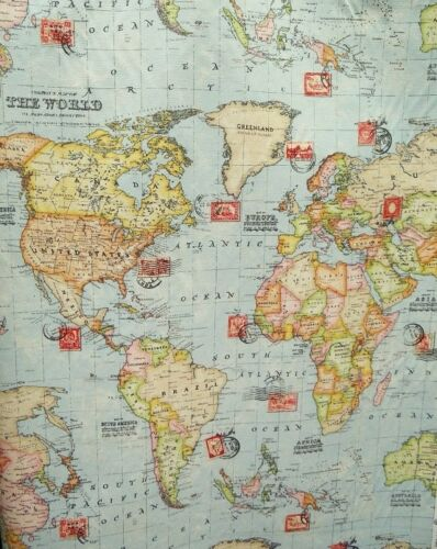 0,50 m Dekostoff Druck Weltkarte Landkarte bunt    Stoff B 3467 01