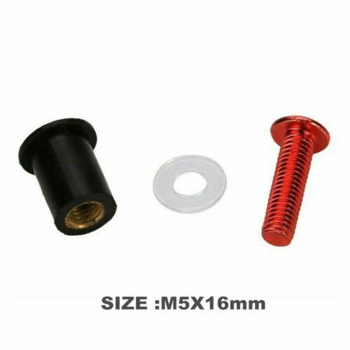5mm 10pcs Motorcycle Windscreen Windshield Bolts Screw Kit Universal Red