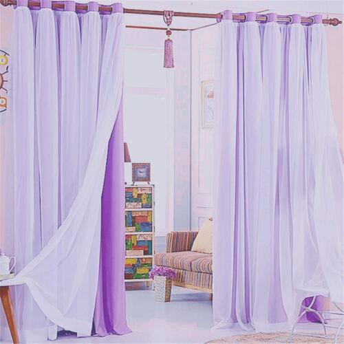 Double Layer Blackout Window Curtain Window Drape Decorative Lace Sheer Valance
