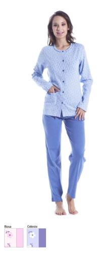 Pigiama lungo donna calibrato Aperto davanti tasca cotone caldo Iside 81278