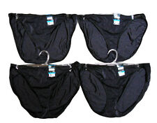 NWT 4 pairs VANITY FAIR String Bikini BLACK nylon PANTIES panty SIZE - 9 /2XL