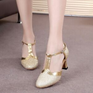 Women-039-s-Blingbling-Latain-Dancing-Low-Heels-Round-Toe-Ankle-Strap-Shoes-Vogue