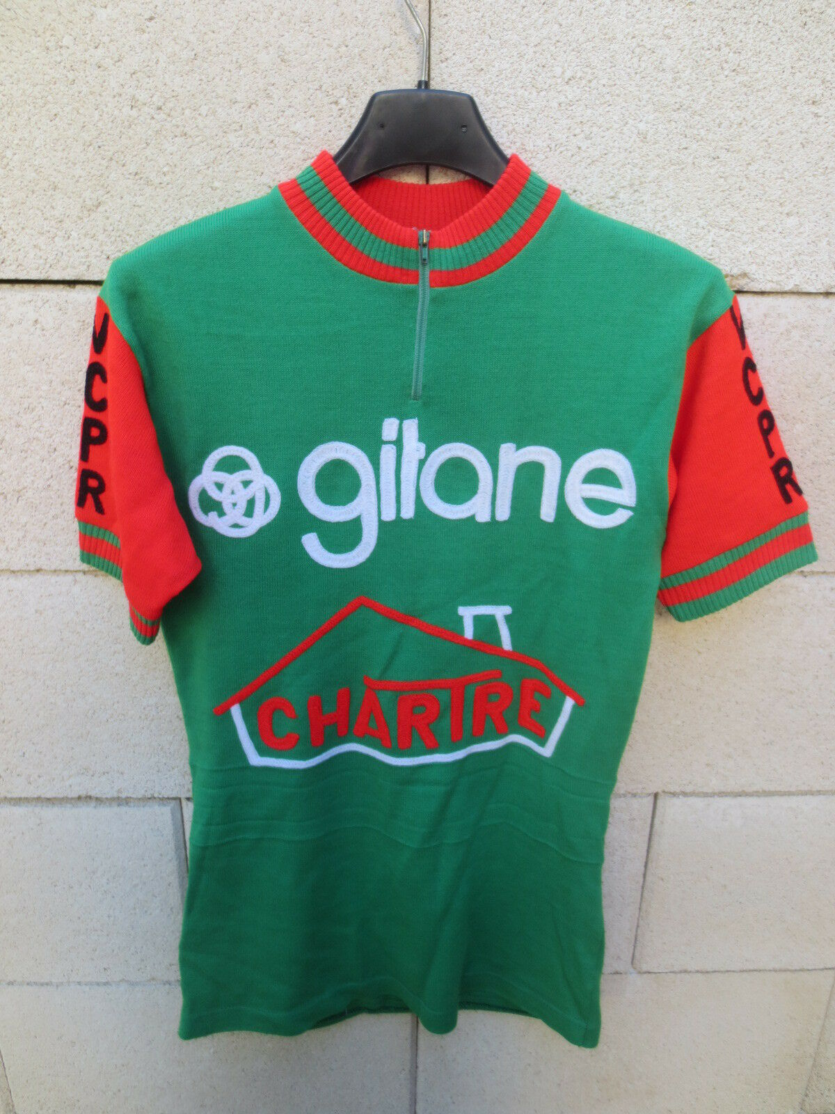 VINTAGE Maillot cycliste GITANE CHARTRE ROANNE cycling shirt jersey maglia 70's