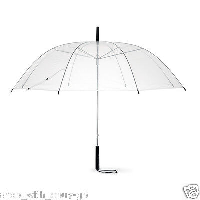 Set of 4 Rain Umbrellas Dome Birdcage Clear Transparent PVC Wedding Stick Brolly