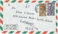 ITALIA REPUBBLICA: LAVORO su BUSTA 1952 - indirizzata a ESTER WILLIAMS