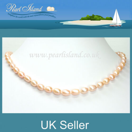 Peach Freshwater Pearl Necklace with Magnetic Clasp 18 inch 46cm