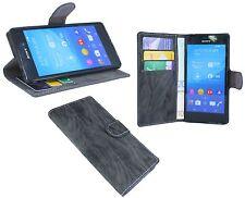 Schutzhülle Schutz Tasche Etui Case für Sony Xperia M4 AQUA + Folie // Anthrazit