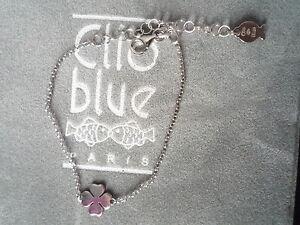 BEAU-BRACELET-034-CLIO-BLUE-034-CHAINE-ARGENT-925-TREFLE-ARGEN-100-NEUF-POCHON-GRIFFE