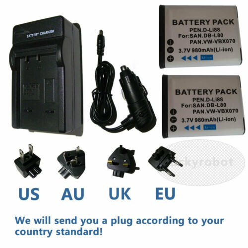 2 Baterías Db-l80 + Cargador Para Sanyo Vpc-x1220, X1250, X1400, X1420 X 1200